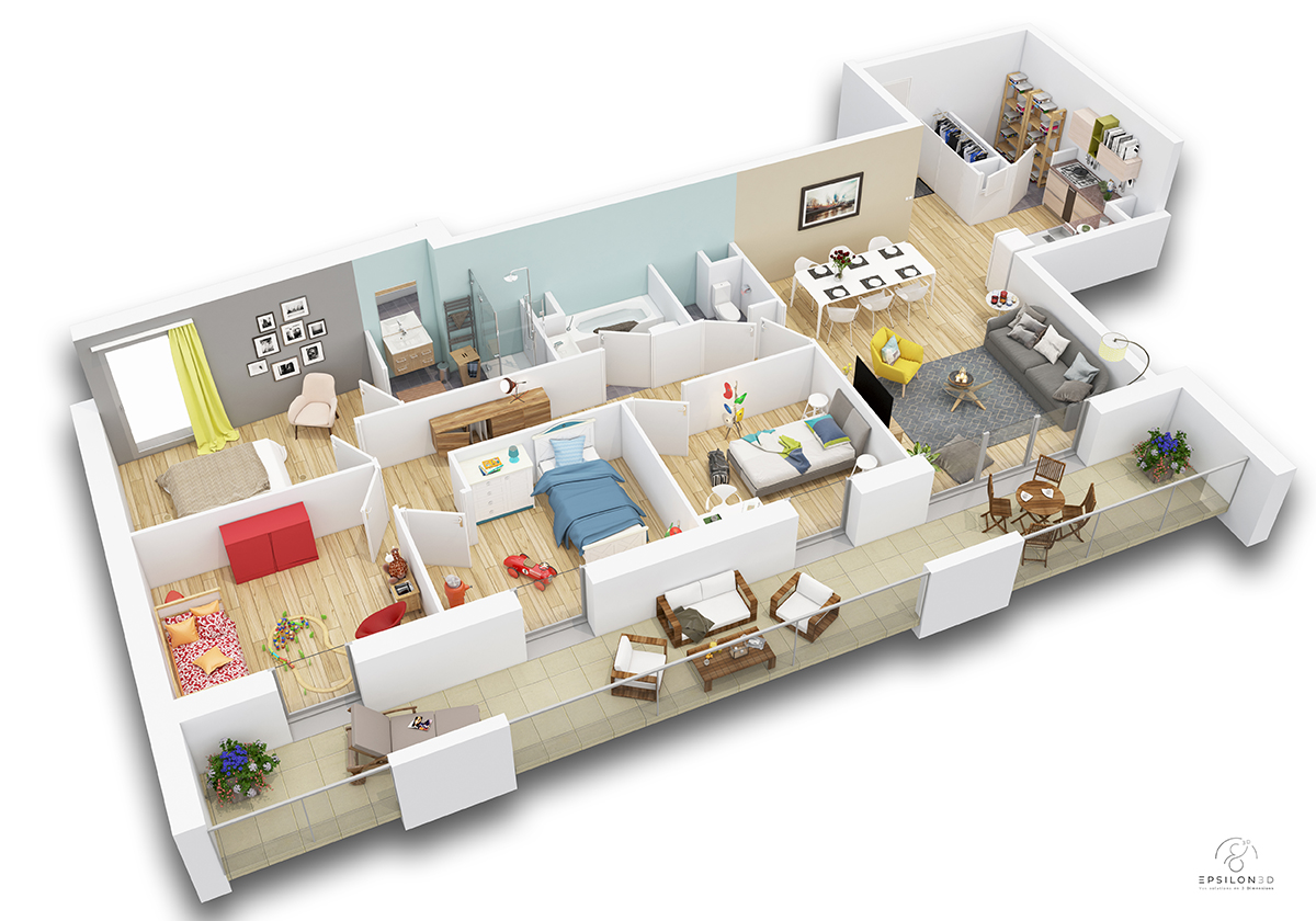 plan appartement 4 chambres